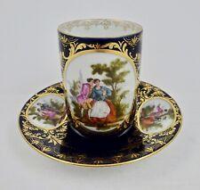 Antique Klemm Dresden Chocolate Cup & Saucer, Vienna Style