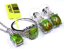 Green Turquoise, Hebei Peridot Ring (Size 7), Earrings and Pendant With Chain