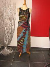 ELEGANTE ROBE LONGUE MAXI DRESS  COLORée SAVE THE QUEEN T L 38 40 UK 10 12