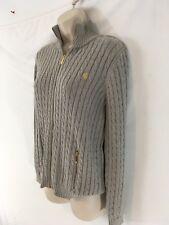 Ralph Lauren Womens L Beige Cotton Cable Gold Zip Mock Neck Front Sweater