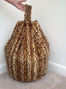 Bean bag cover only adult Baby Cheetah print soft faux fur 6 cubic ft size. New