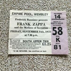 Frank Zappa  ticket  Empire Pool Wembley 14/10/73 #K81 Mothers of Invention