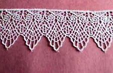 """9y  Vintage Venice lace trim owl edge Linen Lingerie 2-1/4"""" Applique #1009a"""