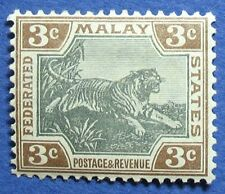 MALAYA 1901 FEDERATED MALAY STATES 3c SCOTT# 19a S.G.# 16 UNUSED CS04833