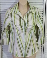 CHARLOTTE RUSSE  Blouse button up Shirt 3/4 Sleeve Size L Jr stretch WOMENS