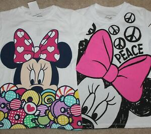 New! Girls Lot of 2 Disney Minnie Mouse Shirts (Short Sleeve) - Large 14-16