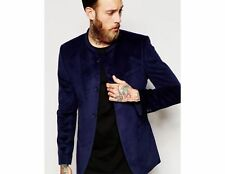 Men Blue Velvet Jodhpuri Bandhgala Blazer New Stylish Wedding Dinner Jacket Coat