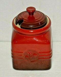 Le Creuset Cerist Red Berry 15 oz Stoneware Jam Jar New