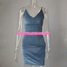 USA Women Velvet Sleeveless Cross V Neck Backless Club Party Slim Bandage Dress
