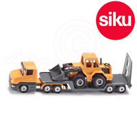 Siku 1616 Low Loader Truck with Front Loader - Working Loading arm + Tail ramp