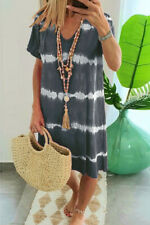 Women Striped Dress Dresses Sundress Long T Shirt Tee Shirt Blouse Summer Loose