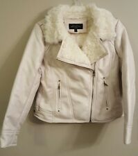 NWT FABULOUS FURS IvoryFaux Leather & Fur Urbansta Jacket SMALL #14741