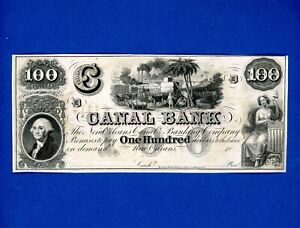 1840's $100 New Orleans Canal Banking Louisiana Remainder GEM UNC