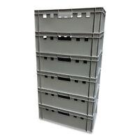 6 x E2-Kiste Stapelbox Kunststoffbehälter Box Kiste Eurobox Lagerbox grau NEU.