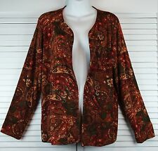 Chico's Travelers Knit Cardigan Jacket ~ Floral Paisley Open Front ~ Womens Sz 2