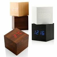 Wooden Holz Digitaler LED Wecker Thermometer Kalender Alarm Uhr Temperatur Datum