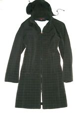 ANNE KLEIN Black QUILTED 2-Way-Zip HODDED Zip Slits Pockets COAT JACKET L
