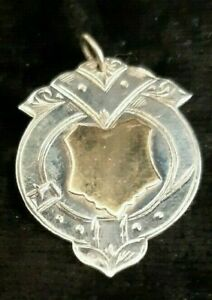 VINTAGE  Sterling Silver 925 Shield Medal Pocket Watch Fob 3.5g Ready To Engrave