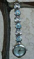 "Vintage LG Sterling Blue Topaz Bracelet & Mother Of Pearl Watch 7"" Wrist New Bat"