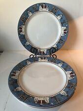 4pc Sakura Snowman 1998 Debbie Mumm Stoneware Dinner Plates