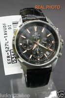 EFR-527L-1A Black Casio Men's Watches Edifice Chronograph 100M Date Leather Band
