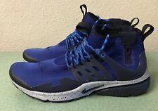 Nike Air Presto Mid Utility Gym Blue Obsidian Grey Black Mens Sz 10 Sneakerboot