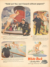 1947 beverage AD WHITE ROCK Sparkling Water ART Topless Tinker Bell !   090216