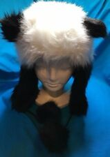 New Claire's Plush Fluffy Panda Hat With Ear Warmers