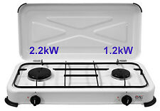 NJ-02 Portable Gas Stove 2 burner Lid Camping Enamel LPG Cooker Outdoor 3.4kW