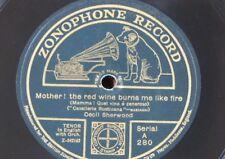 "78rpm 12"" CECIL SHERWOOD red wine burns me like fire / o paradise ZONOPHONE A280"