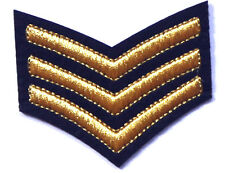 Sergeant Gold Stripes Embroidered Iron Sew On Patch Military Army Epaulettes