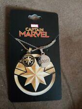 NIP Marvel Comics Captain Marvel & Goose the cat BFF dual pendant & Necklace Set