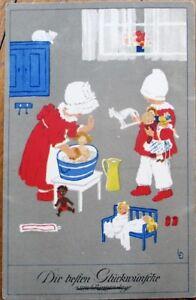 Black Doll & Toys, Children Playing 1915 Color Litho, Artist-Signed Postcard