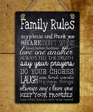 metal hanging sign family rules humour inspirational quote wall door plaque gift