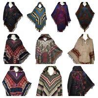 Ladies Hooded Poncho Warm Winter Wrap Cape Shawl Hoodie Jacket Pocket One size