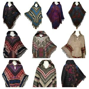 Ladies Hooded Poncho Warm Winter Wrap Cape Shawl Hoodie Jacket Pocket One size