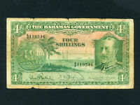 Bahamas:P-5,4 Shillings,1919 (1930) * King George V * RARE *