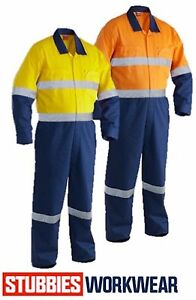 STUBBIES RITEMATE HIVIS LONG SLEEVE 100% COTTON OVERALLS +TAPE - BO2725 RM908CR