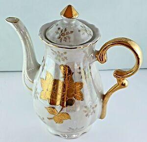 Vintage Handpainted Teapot/Coffee Pot Opal Lustre Gold Rose Gold Gilding