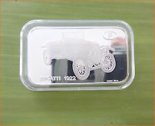 "RARE ! 1 oz .999 Switzerland Silver Bar""BUGATTI 1922 ANTIQUE CAR COLLECTION"" C68"