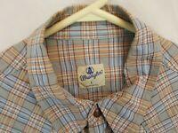 Wrangler Blue Bell 50s style Sanforized Shirt Nonnative Western Plaid Sz L Retro