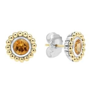 NWT LAGOS Signature Color Collection Caviar Stone Stud Earrings-Citrine $475