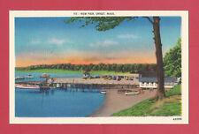 Onset Massachusetts Ma New Pier Vintage Old Linen Postcard c. 1930-1945