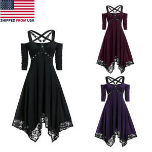 Women's Gothic Dress Steampunk Lace Costume Irregular Swing Medieval Strappy Hal
