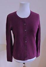 Saks Fifth Avenue Cashmere Cardigan Sweater Medium M Purple Black Label Button