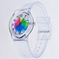 RA_ Transparent Kids Women Colorful Dial Jelly Quartz Analog Wrist Watch Lot S