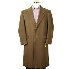 Stafford Mens Overcoat Winter Jacket Size 42 Brown Cashmere Wool Three Button