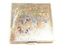 Vintage Volupte Compact Enamel With Persian Or India Hunting Scene