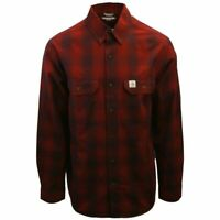 Carhartt Men's Relaxed Fit Red Maroon Plaid L/S Woven Shirt (368)