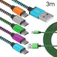 3 m largo Micro USB Data Sync Cargador Cable Lead Para Teléfonos Samsung Android